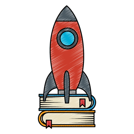 rocket start up with books vector illustration design 向量圖像