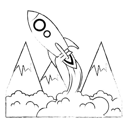 rocket start up with smoke vector illustration design