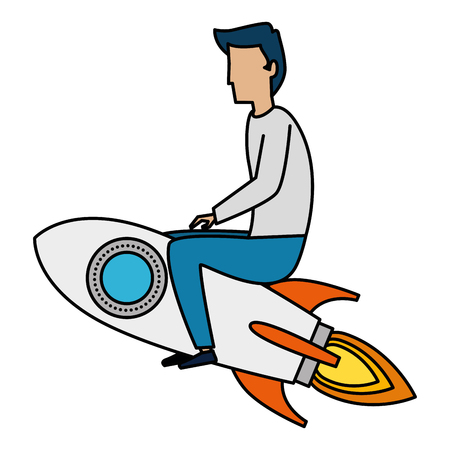 young man flying with rocket vector illustration design