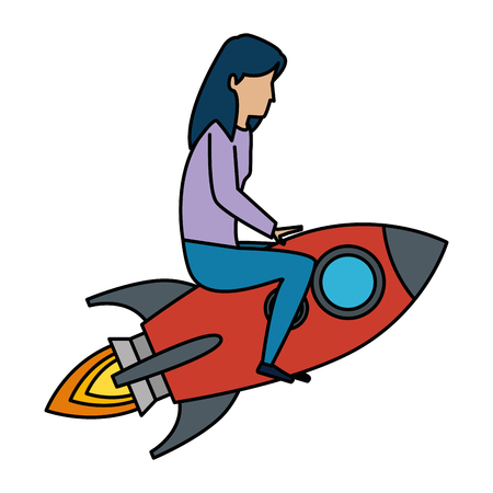young woman working with rocket vector illustration design
