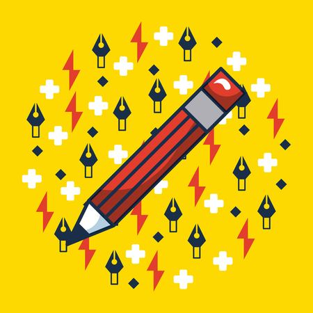 creative idea red pen write yellow background tweezers rays vector illustration