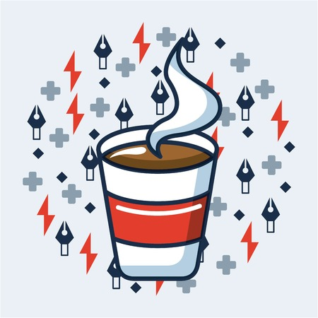 creative idea cup coffee hot symbols background vector illustration