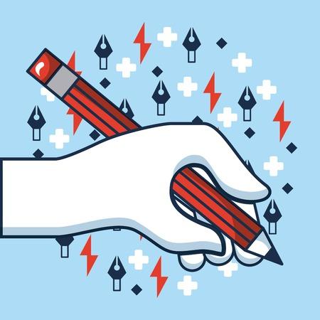 creative idea hand holding pen write colors symbols vector illustration