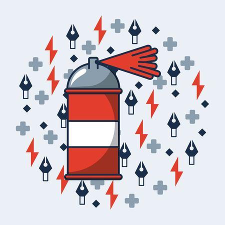 creative idea red spray symbols colors background vector illustration