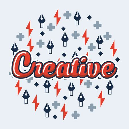 creative idea red sign symbols colors backgorund vector illustration Иллюстрация