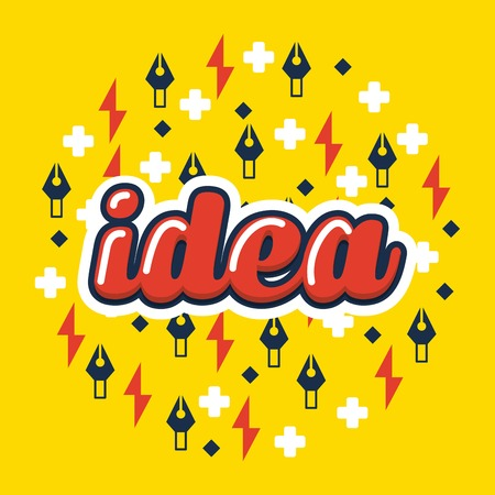 creative idea red sign yellow symbols background vector illustration Иллюстрация