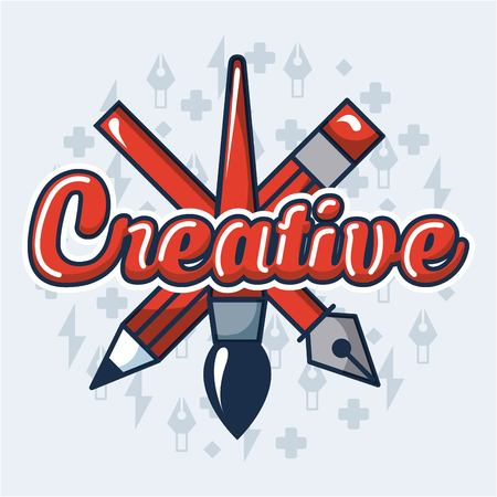 creative idea pen brush tweezers sign colors background vector illustration Çizim