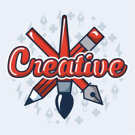 creative idea pen brush tweezers sign colors background vector illustration Illustration