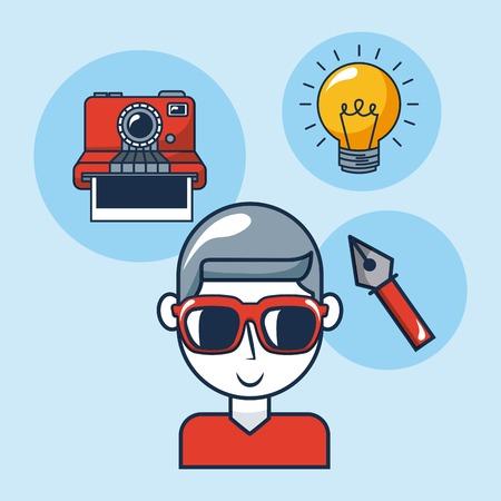 Idée créative garçon avec des lunettes ampoule pince à épiler vector illustration