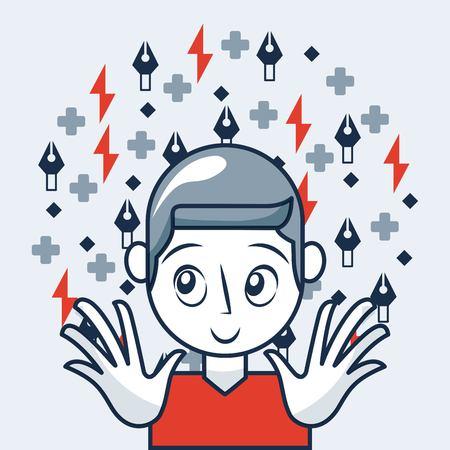 creative idea cute girl smiling symbols geometric tool vector illustration Illustration