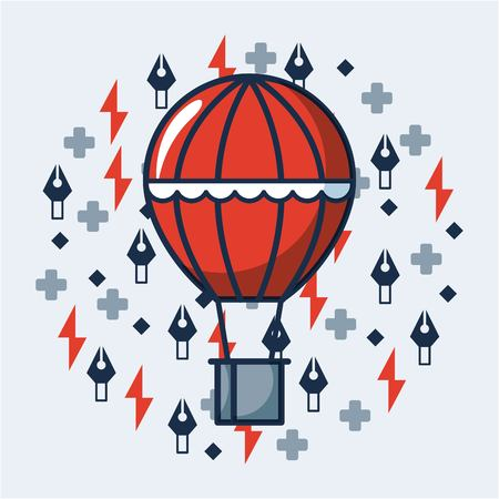 creative idea red hot air balloon rays symbol vector illustration