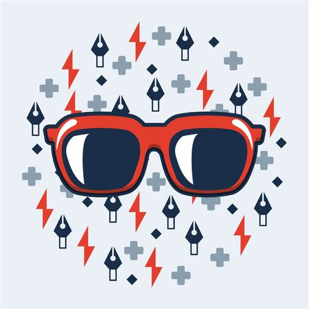 creative idea red glasses math sings tweezers vector illustration Ilustração