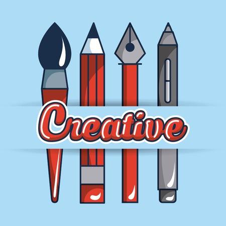 creative idea pen tweezers brush tools vector illustration