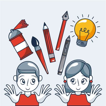 creative idea girl boy smiling light bulb brush pen tweezers vector illustration