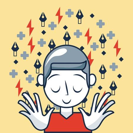 creative idea boy eyes close smiling math signs rays vector illustration Illustration