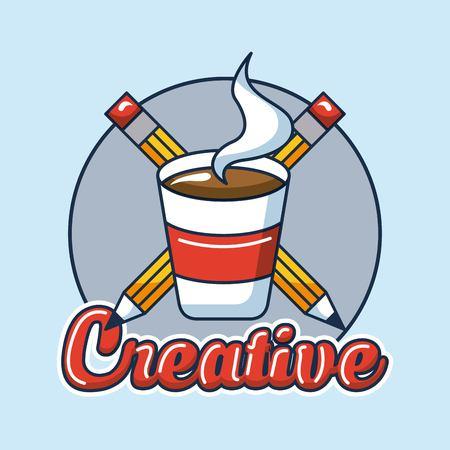 creative idea cup coffee pens label vector illustration