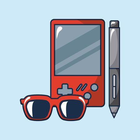 creative idea glasses game   pen vector illustration Illustration
