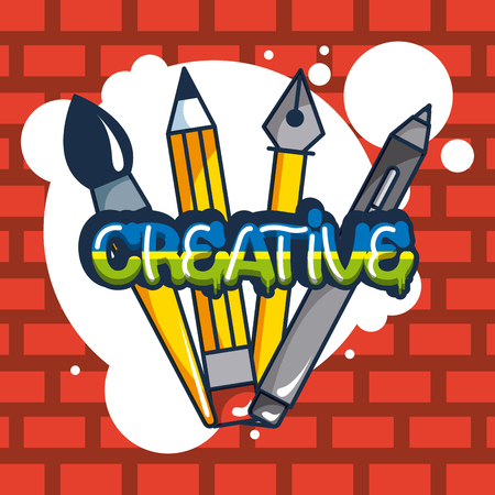 creative idea pens brush pin colors bubbles vector illustration