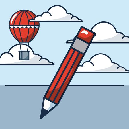 creative idea pen write clouds hot air balloon vector illustration Иллюстрация