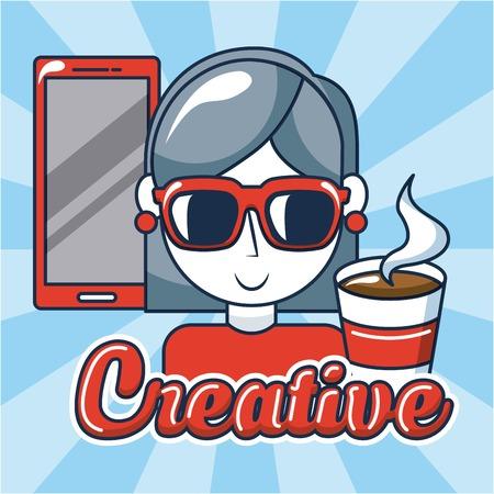 creative idea smartphone girl using glasses cup coffee vector illustration Illustration