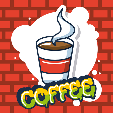 creative idea cup coffee bubble colors vector illustration Иллюстрация