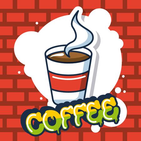 creative idea cup coffee bubble colors vector illustration Illustration