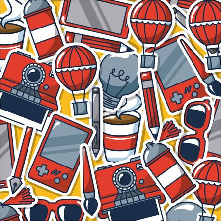 creative idea game hot air balloon glasses pen   spray vector illustration