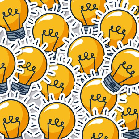 creative idea lights bulbs background colors vector illustration