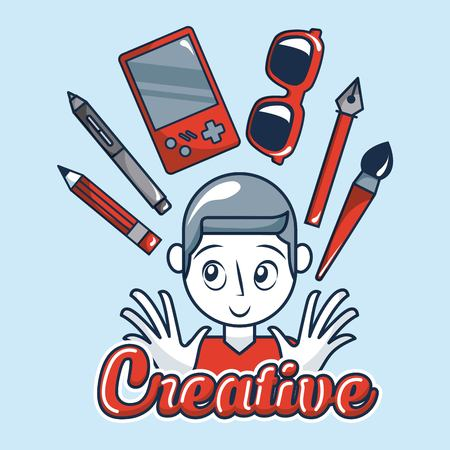 creative idea boy smiling game pen tweezers brush glassess vector illustration