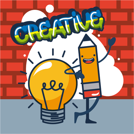 creative idea light bulb pen greeting vector illustration