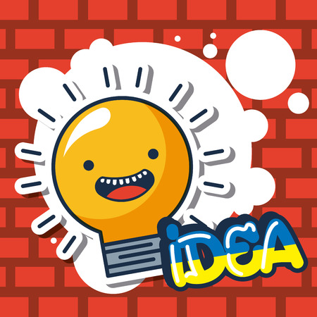 creative idea light bulb cute smiling vector illustration