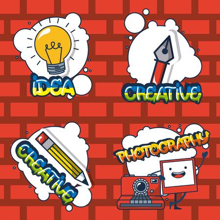 creative idea stickers pen light bulb  photography vector illustration