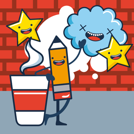 creative idea pen greeting cup coffee cloud stars smiling vector illustration Çizim