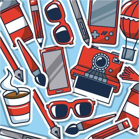 creative idea game glasses   pen coffee vector illustration