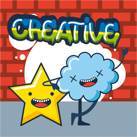 creative idea colors sign stars cloud smiling vector illustration 向量圖像