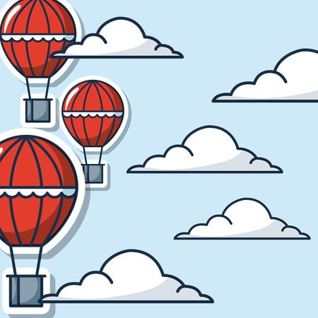 creative idea hot air balloons high clouds sky vector illustration