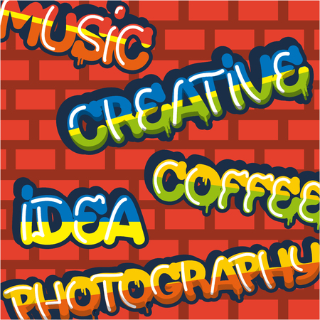creative idea colors sign coffee photography music vector illustration Иллюстрация