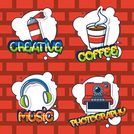creative idea stickers sign headphones   photo spray paiting coffee vector illustration Illustration