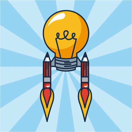 creative idea rockets pens light bulb vector illustration Иллюстрация