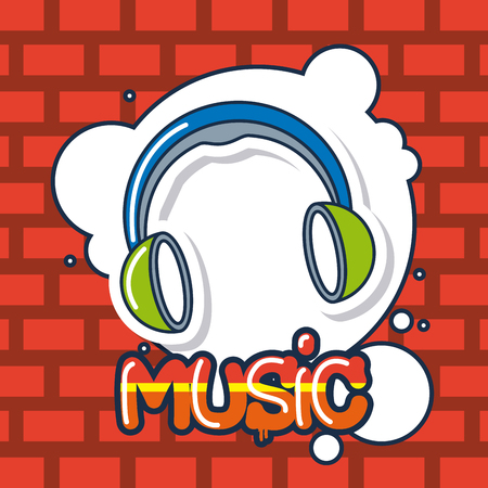 creative idea headphones bubble music design vector illustration Çizim