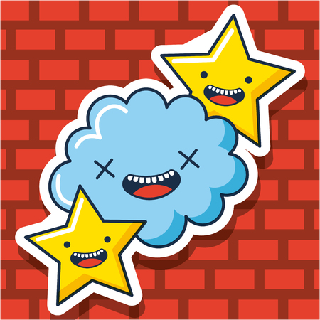 creative idea cloud stars smiling vector illustration Çizim