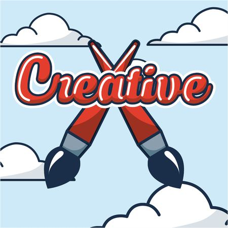 creative idea clouds sky crossed brush sign vector illustration Иллюстрация