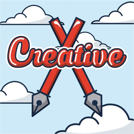 creative idea crossed tweezers clouds sky high vector illustration Ilustração