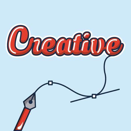 creative idea tweezer holding line vector illustration 向量圖像