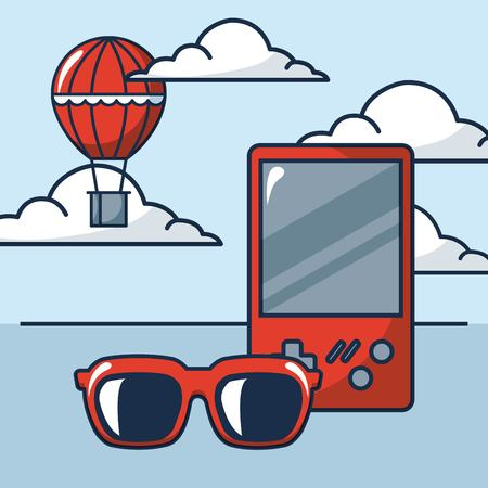 creative idea game  glasses hot air balloon clouds vector illustration Çizim