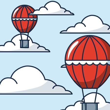 creative idea hot air balloons clouds sky high vector illustration