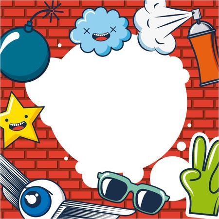 creative idea clouds glasses winged eye hand star bomb spray vector illustration Illustration