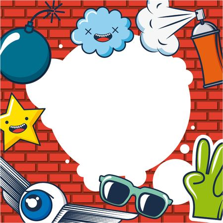 creative idea clouds glasses winged eye hand star bomb spray vector illustration Illustration