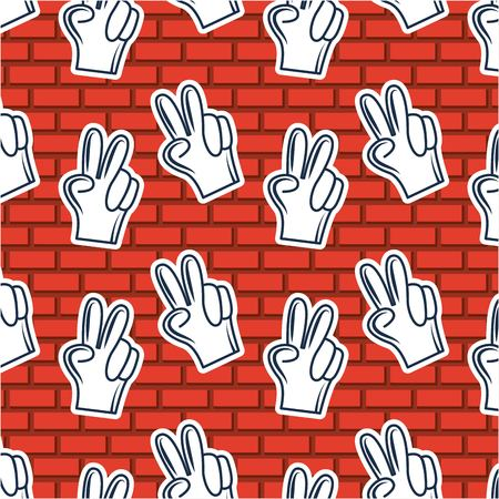 creative idea hands two fingers up background vector illustration Çizim