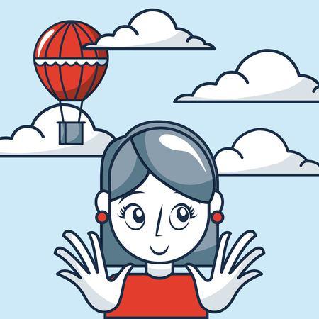 creative idea girl smiling hot air balloon clouds vector illustration 向量圖像